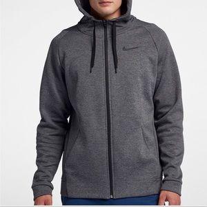 Nike dry training fleece-lined hoodie zip up gray
